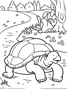 First Grade Fairy Tales Worksheets: Color the Tortoise and the Hare Kids Activity Books, Activity Sheets, Book Activities, Coloring Sheets, Coloring Books, Coloring Pages, Hare & Tortoise, Tortoise Color, Nursery Rhymes Preschool