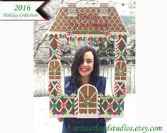 Giant Gingerbread house party frame - christmas party photo booth, kid's photo booth, with christmas lights, candy, merry christmas 2016