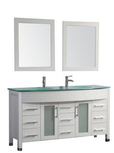 """FIGI COLLECTION :  AVAILABLE SIZES : 63"""" AND 71"""" This Double Sink Modern Bathroom Vanity is made out of Solid Oak Wood Cabinetry, integrated tempered glass basin, soft closing full extension drawers, soft closing doors, stainless steel handles, solid oak wood framed mirror, Polished Chrome or Brushed Nickel faucet, pop-up drains, and flexible hoses.  Installation Guide Weights & Dimensions  Countertop Thickness: 0.75"""" Additional Weights & Dimensions Overall: 34.6""""(H) x 63""""(W) x 22.25""""(D)"""