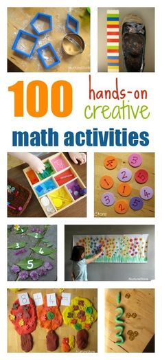 100 creative math activities for toddlers, preschool, and school age kids. Hands-on, multi-sensory ideas, organised by topic and theme. (Not sure they are all early math. Math Activities For Toddlers, Math For Kids, Fun Math, Math Games, Number Activities, Kids Fun, Number Games Preschool, Numeracy Activities, Morning Activities