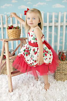 Strawberry dress retro STORYBOOK tutu dress great for a special occasion or birthday party on Etsy, $62.00