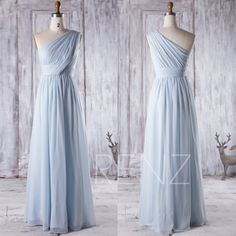2016 Light Blue Bridesmaid Dress Long One Shoulder by RenzRags