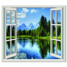 Mountain Lake Window Wall Sticker - Best of Wallpapers for Andriod and ios Wall Stickers Window, Window Mural, Window View, Wall Decal, Faux Window, Chinese Landscape, Most Beautiful Wallpaper, Unique Wall Art, Autumn Trees