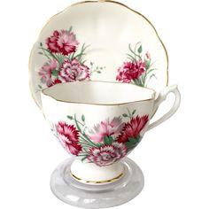 Queen Anne Bone China England Pink Carnations Teacup and Saucer
