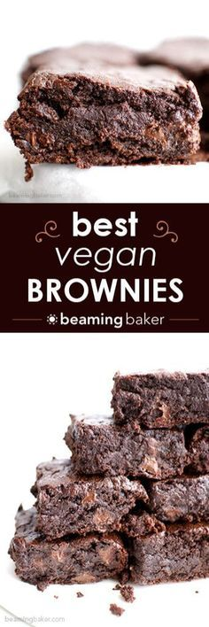 The BEST vegan brownies you've ever had: divinely rich, fudgy, and moist, bursting with chocolate flavor. Recipe at BEAMINGBAKER. Healthy Vegan Dessert, Vegan Dessert Recipes, Vegan Treats, Healthy Sweets, Vegan Foods, Vegan Dishes, Brownie Recipes, Dairy Free Recipes, Whole Food Recipes