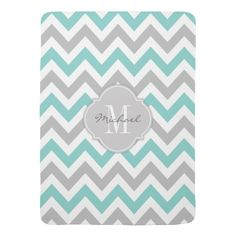 Teal Blue and Gray Chevron with Monogram Stroller Blanket