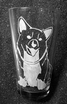 Cowboy Bebop Ein Corgi etched pint glass tumbler | eBay