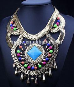 2015 más reciente primavera verano declaración cadena dorado necklce con  cuentas estilo egipcio collar collar N2985-2-Collares-Identificación del ... 3039ce04f8e