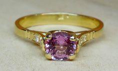 Vintage .91ct Purple Pink Sapphire Diamond 14k Yellow Gold Alternative Engagement Ring  Art Deco Style by DiamondAddiction on Etsy
