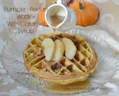 Pumpkin Pecan Waffles with Caramel Syrup - Wouldn't this make a fabulous Christmas breakfast? From @csouthernhome