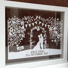personalised silhouette wedding papercut by the portland co. | notonthehighstreet.com
