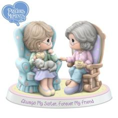 Limited-edition Precious Moments® porcelain figurine celebrates bond between sisters. Meticulously handcrafted and hand-painted.