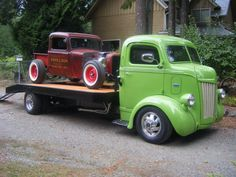 Vintage COE (Cab Over Engine) Truck with flatbed to haul a cool rod