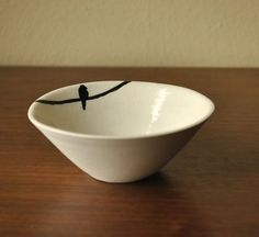 Lone Bird on a Wire Porcelain Trinket Bowl by SuiteOneStudio