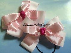 ハンドメイドキッズ用ヘアアクセサリー ピンクサテンリボン×ショッキングピンク 2個セット¥500  Handmade ribbon hair accessories for kids!