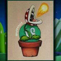 Vine and Piranha Plant Social Media Mash Up Drawing