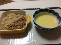 No.100 100食目はキーマ&キヌア、キヌア煮たお湯でコーンスープ。 #鳥肉キーマ #キヌアはバターペッパー味 #コーンスープは少しカレー粉入れてある #ホントは100食目はけむりにしたかった