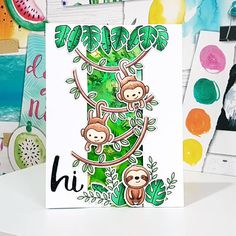 Made my alcohol ink background into a card using @hellobluebird.stamps 'Jungle Littles'  and @honeybeestamps 'Hello Gorgeous Words'  die. #hellobluebirdstamps #honeybeestamps #handmadecard #handmadecards #tinwhistlecrafts #cardmaking