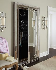 """Glam"" floor mirror. Love that your jewelry can be hidden behind the mirror! #jewelry storage"