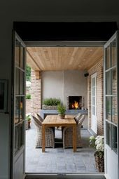 Rustic Spring Porch Decor Ideas to Help you Get Your Outdoor Space Ready for Spring - The Trending House Modern Outdoor Kitchen, Outdoor Kitchen Bars, Outdoor Kitchens, Outdoor Rooms, Outdoor Dining, Outdoor Decor, Dining Area, Dining Decor, Patio Dining