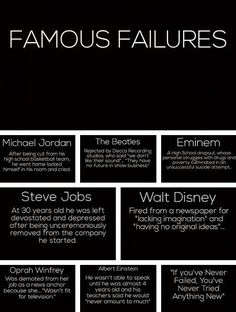 Famous Failures: If you're not failing every now and again, it's a sign you're not doing anything very innovative.-Woody Allen    Remember: Vidal Sassoon went from shampoo boy, to hair industry legend with hard work, innovation, and dedication.