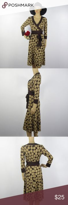 Alyn Paige Polka Dot Midi Dress Brown Tan Size S This cute dress is in excellent condition! As always offers and bundles are welcome. Feel free to add one or more items to a bundle for a private discount offer!!!  Armpit to armpit is 16 inches across Sleeve length is 18.25 inches  Waist is 12 inches across Hips are 16.5 inches across Length is 39.5 inches Alyn Paige Dresses Midi