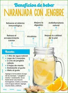 El jugo de naranja con jengibre es otra gran opción a la hora de reforzar la sa… Orange juice with ginger is another great option when it comes to strengthening health given the potential of its ingredients, which also make… Sigue leyendo → Healthy Juices, Healthy Smoothies, Healthy Drinks, Healthy Tips, Healthy Eating, Healthy Recipes, Simple Smoothies, Healthy Water, Diet Recipes