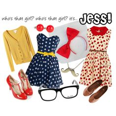 Dear stylist These are all super awesome. However, I do not wear strapless dress like the blue one. I also think it would show too much cleavage. Passion For Fashion, Love Fashion, Girl Fashion, Womens Fashion, Zooey Deschanel, New Girl Outfits, Cute Outfits, Jessica Day, Hipster
