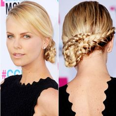 Charlize Theron's ropey French braid masterpiece is intricate, but doesn't feel overdone thanks to a sleek side-part in front.