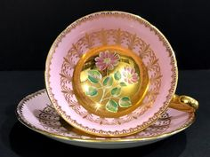 Royal Grafton Pink Teacup and Saucer, Heavily Decorated Tea Cup, Made in England -K