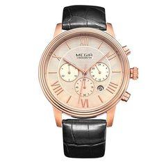 Fashion Stylish Brand Design Business Calendar Men Male Clock Sport Leather Luxury Elegant Quartz Wrist Watch (DG10-2012G)