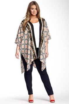 Plus Size V-Back Long Printed Jacket (Plus Size)