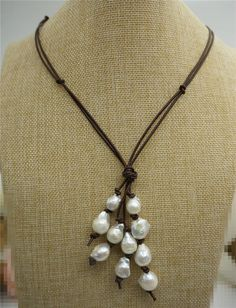 Freshwater Pearl and Leather Drop NecklaceHuge pearl by WenPearls