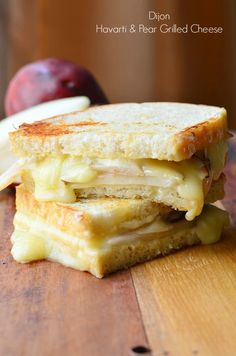 Dijon Havarti & Pear Grilled Cheese - Will Cook For Smiles Grilled Cheese Recipes, Sandwich Recipes, Grilled Cheeses, Sandwich Ideas, Lunch Recipes, Fall Recipes, Holiday Recipes, Vegan Recipes, Gourmet