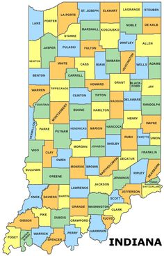 Map of all Indiana counties