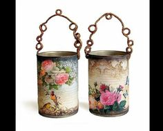 decoupage napkins onto the glass holders. The thinness of the napkins will make them transluscent Tin Can Crafts, Crafts To Make, Fun Crafts, Soup Can Crafts, Decor Crafts, Coffee Can Crafts, Decoration Shabby, Hanging Decorations, Diy Hanging