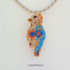 Купить Кулон Птичка Коралл из полимерной глины - оранжевый, синий, голубой, бежевый, цветочек, розовый