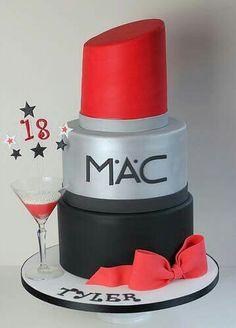 Makeup Birthday Cakes, My Birthday Cake, Pretty Cakes, Beautiful Cakes, Amazing Cakes, Fondant Cakes, Cupcake Cakes, Mac Cake, Lipstick Cake