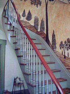 Mural on stairway