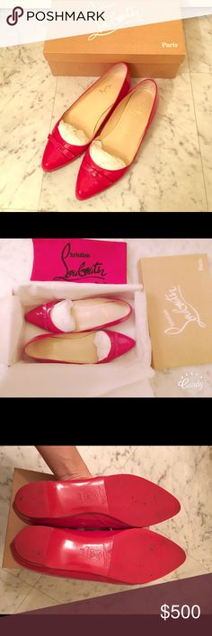 Authentic Christian Louboutin Ballerina flat 100% Authentic .purchased fron Saks. Size:38.5 (runs small). I usually wear Eu38. It fits perfect for 38. Comes with Original box.No trade Christian Louboutin Shoes Flats & Loafers