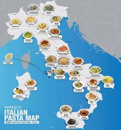 Top 25 delicious Italian pasta dishes you should taste, beyond Spaghetti Bolognese, described by by region with pictures and map Italian Pasta Dishes, Food Map, Spaghetti Bolognese, Pasta Spaghetti, Italy Food, Regions Of Italy, Italian Language, Learning Italian, Thinking Day