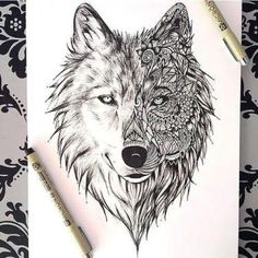Dessin Tatouage Loup Tattoos In - Coloring Page Ideas Wolf Tattoos, Animal Tattoos, Tatoos, Wolf Tattoo Design, Tattoo Designs, Wolf Design, Design Design, Kunst Tattoos, Tattoo Drawings