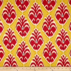 Screen printed on cotton sateen; this lightweight fabric is very versatile. This fabric is perfect for window treatments (draperies, valances, curtains, and swags),  accent pillows, tote bags, aprons and upholstery. Colors include cherry, yellow, orchid and ivory. This fabric has 42,000 double rubs.