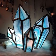 Excited to share this item from my shop: Pattern Crystal cluster Stained glass. Hand made craft decor by Sea Glass Art, Stained Glass Art, Mosaic Glass, Fused Glass, Stained Glass Projects, Stained Glass Patterns, Mosaic Patterns, Stained Glass Designs, Art Patterns
