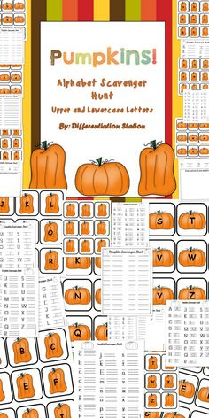 Get kids up and moving with this alphabet scavenger hunt! Identify upper and lowercase letters of the alphabet. Great for kinesthetic learners. Pumpkins and fall $
