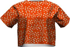 shapely-sally SHORT SLEEVE NEOPRENE SWEATSHIRT PAOM-VFS from Print All Over Me #orange #polkadot #spots #tops #fashion #clothes