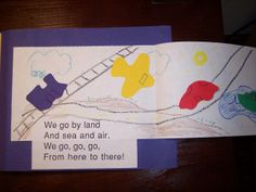 Transportation poem:  We go by land and sea and air. We go, go, go, from here to there!