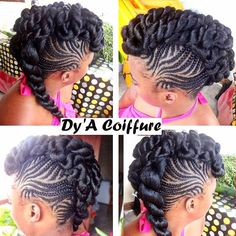 Braided mohawk nstagram photo by (Dy'A Coiffure) Braided Mohawk Hairstyles, Girls Natural Hairstyles, African Braids Hairstyles, My Hairstyle, Black Girls Hairstyles, Twist Hairstyles, Wedding Hairstyles, Black Girl Braids, Girls Braids