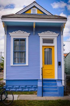 Architecture, Exciting Blue Shotgun House With Yellow Single Main Door Also One Window Glass Also Simple Stairs Also Minimalist Facade Exter. Modern Exterior, Exterior Colors, Exterior Paint, Exterior Design, Stucco Colors, Creole Cottage, Shotgun House, New Orleans Homes, New Orleans Art