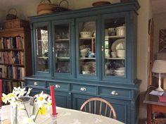 Inchyra Blue from Farrow and Ball- paints Farrow And Ball Kitchen, Farrow And Ball Paint, Farrow Ball, Green Furniture, Painted Furniture, Kitchen Cupboard Colours, Inchyra Blue, Home Decor Inspiration, Kitchen Inspiration